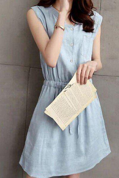 Trendy Half Button Belted Shirt Dress