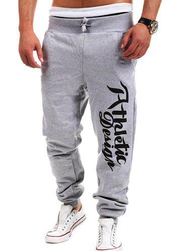 Chic Loose Fit Stylish Lace-Up Letters Print Beam Feet Polyester Sweatpants For Men