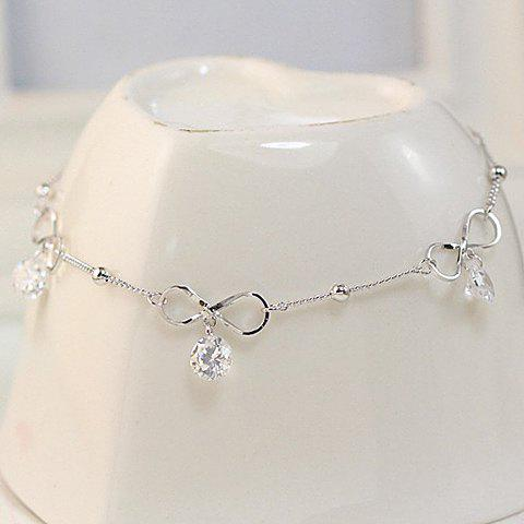 Fake Crystal Hollowed Bowknot AnkletJEWELRY<br><br>Color: SILVER; Gender: For Women; Material: Rhinestone; Style: Trendy; Shape/Pattern: Bows; Weight: 0.035kg; Package Contents: 1 x Anklet;