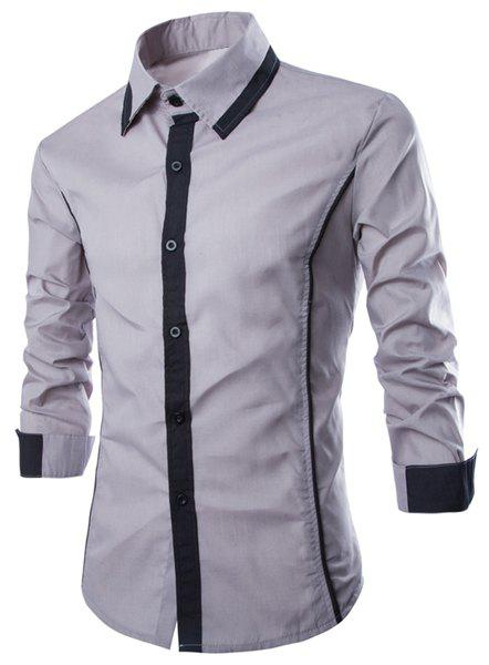 Shops Fashion Shirt Collar Slimming Color Block Fake Tie Design Long Sleeve Polyester Shirt For Men