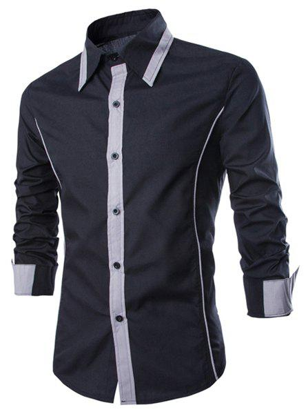 Affordable Fashion Shirt Collar Slimming Color Block Fake Tie Design Long Sleeve Polyester Shirt For Men