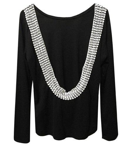 Cheap Stylish Scoop Neck Lacework Spliced Backless Long Sleeve T-Shirt For Women