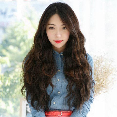 Fashion Side Bang Deep Brown Ladylike Long Curly Synthetic Wig For WomenHAIR<br><br>Color: DEEP BROWN; Type: Full Wigs; Cap Construction: Capless; Style: Curly; Material: Synthetic Hair; Bang Type: Side; Length: Long; Length Size(Inch): 26; Weight: 0.270KG; Package Contents: 1 x Wig;