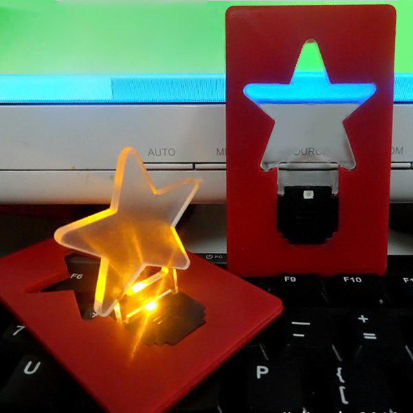Star Shape LED Pocket Lamp Mini Portable Folding Led Wallet Credit Card LightHOME<br><br>Color: RANDOM COLOR; Product weight: 0.015 kg; Package weight: 0.030 kg; Product size (L x W x H): 8.6 x 5.3 x 3 cm / 3.38 x 2.08 x 1.18 inches; Package size (L x W x H): 10 x 10 x 2 cm / 3.93 x 3.93 x 0.79 inches; Package Contents: 1 x LED Five Star Card Lamp;