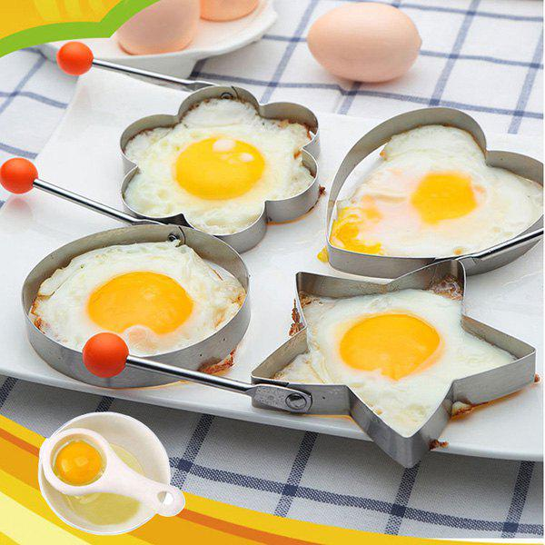 Hot Stainless Steel Fried Egg Mold Kitchen Cooking Tool with Heart / Ring / Flower / Star Shape - 4pcs