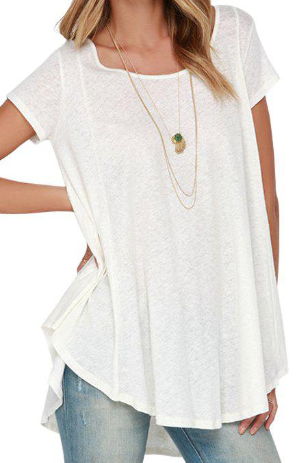 White Short Sleeve With Lace High Low T shirt 131569202