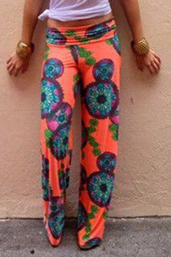 Outfits Fashionable Elastic Waist Floral Print Loose-Fitting Women's Exumas Pants