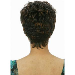 Fashion Fluffy Full Bang Brown Mixed Noble Short Curly Synthetic Capless Wig For Women -