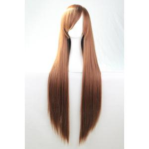 80CM Charming Glossy Side Bang Long Straight Heat Resistant Fibre Versatile Cosplay Wig - BROWN