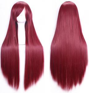80CM Charming Glossy Side Bang Long Straight Heat Resistant Fibre Versatile Cosplay Wig - Wine Red - 14inch