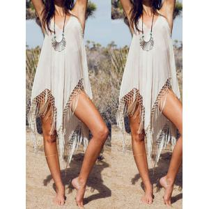Sleeveless Fringe Embellished Asymmetrical Flapper Dress - White - L