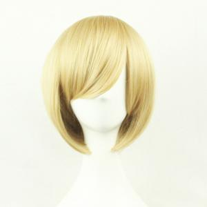Top Quality Side Bang 24CM Shaggy Short Straight Prevailing Bob Hairstyle Cosplay Wig - LIGHT GOLD