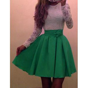 Sweet Scoop Neck Long Sleeve Color Block Women's Dress - Green - S