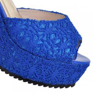 Sweet Lace and Metallic Design Women's Wedge Heel Sandals -