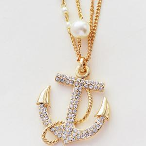 Rhinestone Embellished Anchor Double Layered Sweater Chain - WHITE/GOLDEN