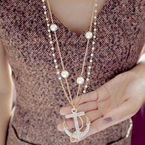 Rhinestone Embellished Anchor Double Layered Sweater Chain