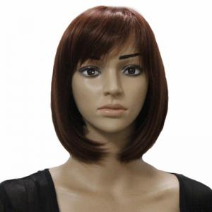 Charming Short Straight Bob Side Bang Stylish Synthetic Brown Capless Wig For Women -