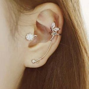 ONE PIECE Characteristic Rhinestone Embellished Angle's Wing Shape Ear Cuff For Women