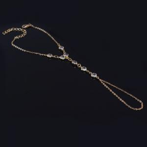 Gold Plated Faux Crystal Link Bracelet With Ring - GOLDEN
