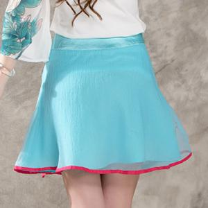 Ethnic Style Zipper Fly Embroidery A-Line Skirt For Women -