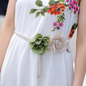 Fashionable Scoop Collar Sleeveless Floral Print Women's Chiffon Dress -