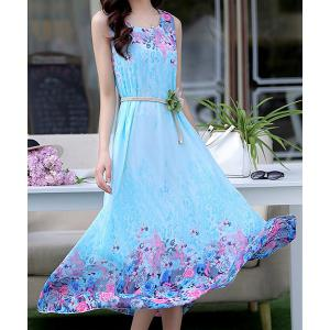 Stylish Scoop Neck Sleeveless Floral Print Chiffon Women's Dress