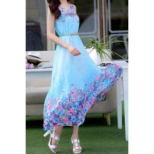 Stylish Scoop Neck Sleeveless Floral Print Chiffon Women's Dress -