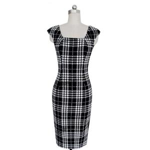 Stylish Square Neck Sleeveless Plaid Bodycon Dress For Women