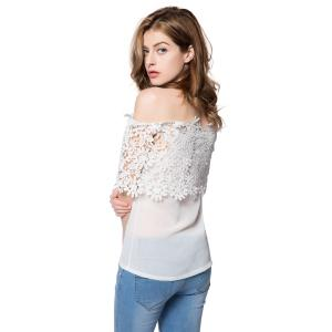 Stylish Slash Collar Short Sleeve Solid Color Spliced Women's Blouse - WHITE S