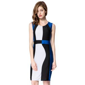Trendy Sleeveless Scoop Neck Color Block Pullover Women's Dress