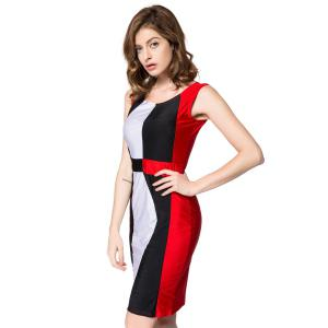 Trendy Sleeveless Scoop Neck Color Block Pullover Women's Dress - RED L