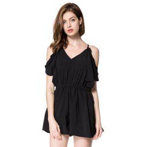 Cold Shoulder Tie Back V Neck Romper