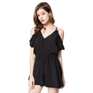Cold Shoulder Tie Back V Neck Romper - BLACK M