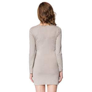 Short Button Long Sleeves Sheath Dress - LIGHT GRAY L