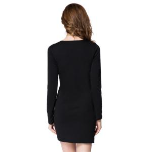 Short Button Long Sleeves Sheath Dress - BLACK M