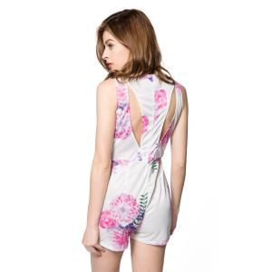 Sexy V-Neck Sleeveless Floral Print Hollow Out Women's Romper - WHITE S