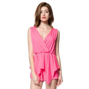 Stylish V-Neck Sleeveless Solid Color Chiffon Women's Romper