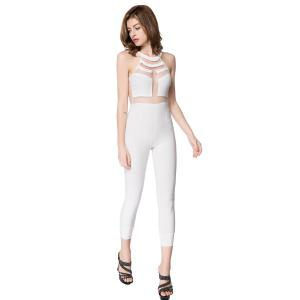 Sleeveless Mesh Bodycon Jumpsuit - WHITE L