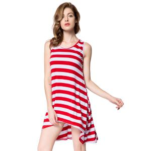 Striped Casual Summer Tank Dress - RED ONE SIZE