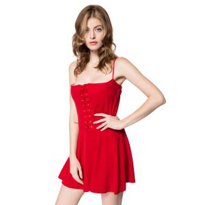 Solid Color Lace-Up Solid Color Sexy Spaghetti Strap Slimming Women's Dress -