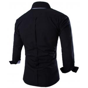 Fashion Shirt Collar Fitted Two Color Splicing Long Sleeve Polyester Shirt For Men -