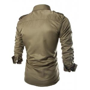 Fashion Uniform Style Shirt Collar Fitted Epaulet and Zipper Design Long Sleeve Polyester Shirt For Men - ARMY GREEN 2XL