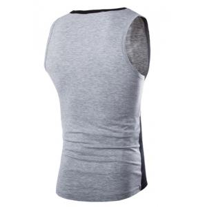 Fashion Round Neck Slimming Color Block Splicing Sleeveless Polyester Tank Top For Men -