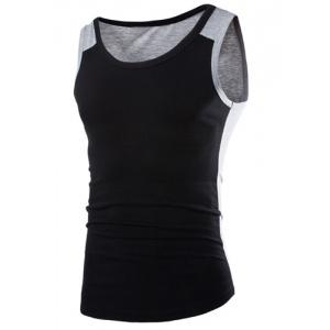 Fashion Round Neck Slimming Color Block Splicing Sleeveless Polyester Tank Top For Men - Black - L