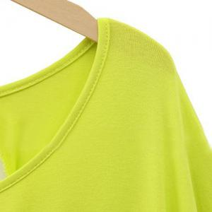 Stylish Scoop Neck Lace Splicing Dolman Sleeve Plus Size T-Shirt For Women -