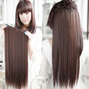 Glossy Long Straight Clip-In High Temperature Fibre Stylish Charming Women's Hair Extension - Deep Brown