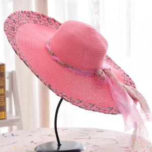 Chic Kink Lace-Up Embellished Color Block Wide Brim Straw Hat For Women -