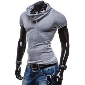 Summer Fashion Piles Collar Slimming Solid Color Button Design Short Sleeve Polyester T-Shirt For Men -
