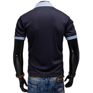 Fashion Turndown Collar Slimming Color Block Splicing Embroidered Short Sleeve Polyester Polo T-Shirt For Men - CADETBLUE XL