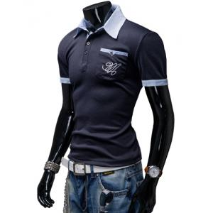 Fashion Turndown Collar Slimming Color Block Splicing Embroidered Short Sleeve Polyester Polo T-Shirt For Men - CADETBLUE 2XL